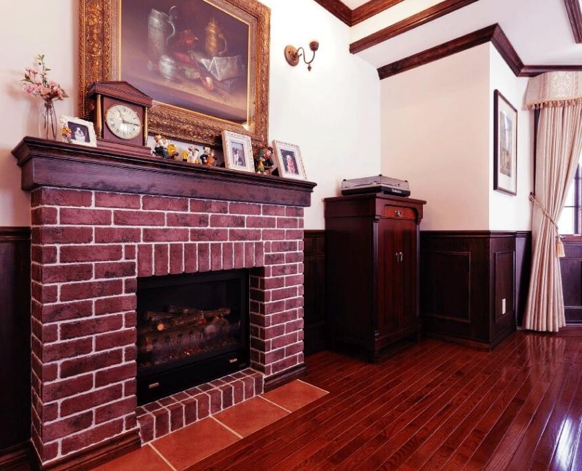 石橋工務店の輸入住宅施工事例6暖炉